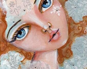 Fantasy figure, big eyed girl,Home Decor, Winter Art,Snowflake, Original painting