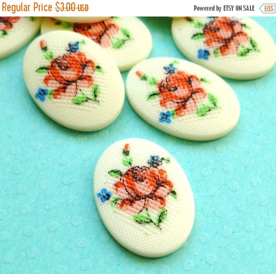 Christmas in July Sale - Vintage Plastic Cabochons with Cheerful Pink Flowers (29-3F-4)