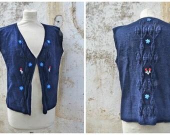 Vintage 1970/70s Tyrol trachten Folk navy blue  knitted vest embroidered cardigan dirndl size M/L