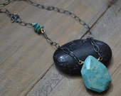 Turquoise Nugget on Sterling Silver Chain Necklace