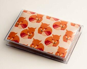 NEW Handmade Vinyl Card Holder - Sleepy Fox  / card case, vinyl wallet, women's wallet, small wallet, pretty, gift, cute, fox, woodland