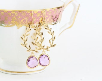 Gold Lilac Earrings - Glass Gem Earrings - Wedding Earrings - Bridesmaid Earrings - Dangle Earrings - Gift For Woman - Large Earrings