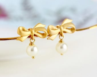 Drop Earrings, Ivory Pearl Earrings, Bow Jewelry, Gold Bow Earrings, Pearl Bow Earrings, Bridal Earrings, Bridesmaids Gifts, Spring Fashion
