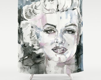 Marylin Shower Curtain in Blacks and Grays - Watercolor Painting Art from The Goddess Series by Kathy Morton Stanion  EBSQ