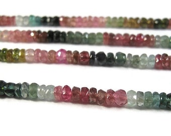 BIRTHDAY SALE - Multi Tourmaline Beads, Faceted Rondelles, 3.5-4mm Natural Gemstones, Over 75 Beads, 6.5 Inch Strand (R-Tou3)