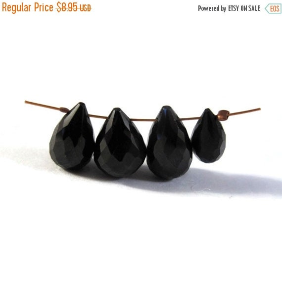 BIRTHDAY SALE - Four Black Spinel Briolette Beads, Set of 4 Natural Gemstone Beads for Making Jewelry, 11x6mm -13x8mm (B-Sp3)