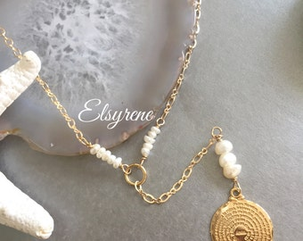 Gold Y necklace-Dainty Gold our Father Medal,Pearl Necklace-Tree of life necklace-Tiny Pearl Necklace- layering necklace-Spiritual gift