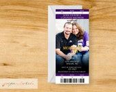 Ticket Stub Shower Invitation - Save the Date - Team Color- Any Sport - Digital File or Printed