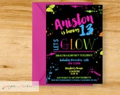 Glow Party Birthday Invitation - Teen or Tween Birthday -  Digital File or Printed