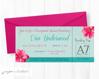 Tropical Honeymoon Bridal Shower - Luau Invitation - Destination Wedding - Bright Floral -  Rehearsal Dinner Invite  Digital File or Printed