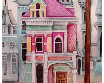 the Squirrel's City House - ORIGINAL WATERCOLOR