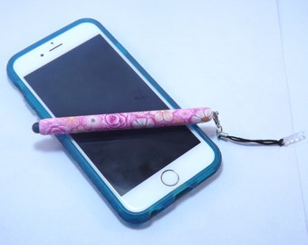 Handmade Pink Millefiori Floral Polymer Clay Stylus Headphone Jack Dust Plug, Cell Phone, IPod, IPad, Tablet
