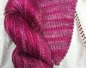 Hand Dyed worsted weight Silk Yarn - Roseberry