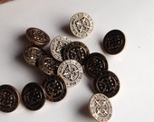 Vintage Fleur De Lis Buttons, Vintage Brass Buttons, Reuse, Recycle, Upcycle, Repurpose, Etsy, Etsy Supplies