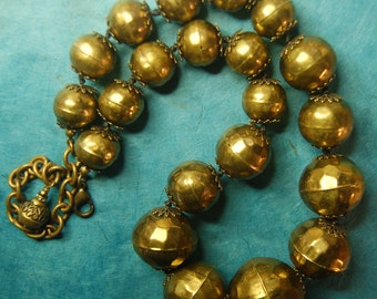 Hand knotted Vintage Hollow Ware Brass beaded necklace