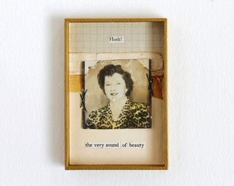 Small Original Vintage Photo and Poetry Mixed Media Collage