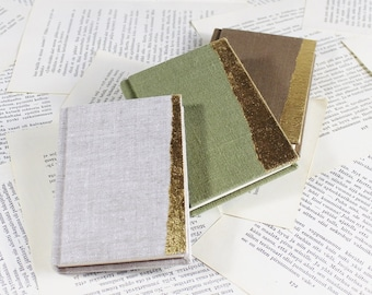 Hardcover Mini Linen Notebook in Off-White, Light Green or Taupe with Gold Leaf Decoration