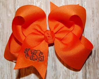 Orange Monogrammed Bow - Fall Bow - Thanksgiving Bow - Monogram Headband Bow - Baby Bow - Toddler Bow - Personalized Bow - Embroidered Bow