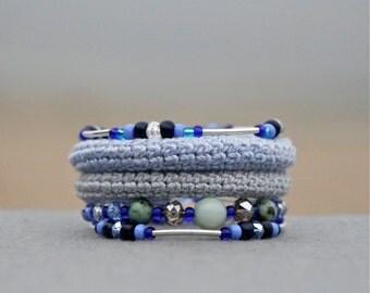 Coil crochet bracelet - wrap bracelet - memory wire bracelet