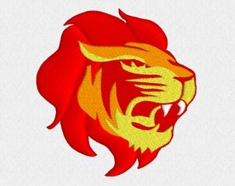 Lion head machine embroidery design file