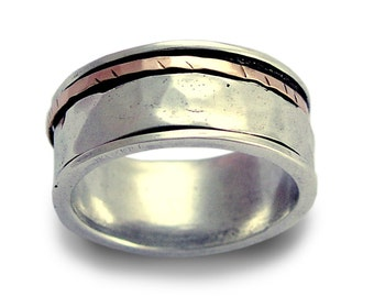 Spinner ring, Fidget Wedding band, Sterling silver ring, rose gold ring, unisex band, mens wedding band, mixed metal ring - I Love R1149F