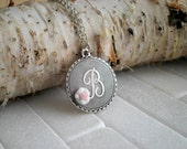 RESERVED for Natasha: Vintage Initial Letter B Charm Necklace - Antiqued Silver Cursive Letter B Circle Pendant Personalized Initial Jewelry