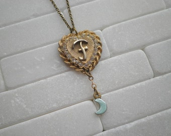 Vintage Initial Letter F Tiny Moon Charm Necklace. Letter F Retro Heart Pendant. Shabby Chic Cursive Initial Necklace. Personalized Jewelry