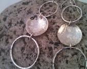 Sterling Hoops, Long Hoop Earrings, Triple Hoop Earrings, Dangling Hoops, Modern Earrings, Hand Made Earrings