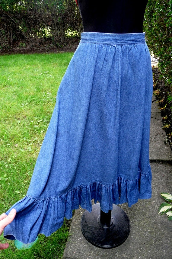vintage denim jean midi maxi skirt