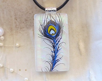 LARGE, Dichroic Glass Pendant, Necklace, Fused Jewelry, Feather, Necklace Included, A10