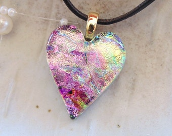 Dichroic Glass Heart Pendant, Necklace, Glass Jewelry, Necklace Included, Pink, Gold, One of a Kind, A8