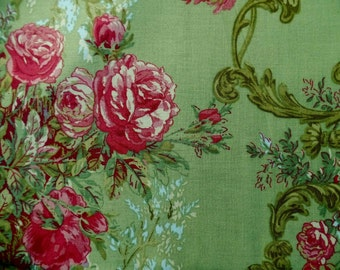 Fuchsia Pink And Rose Fabric With Green Background