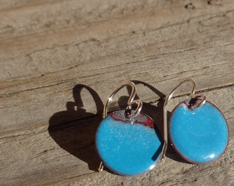 "Handmade Enamel Earrings, Enameled Copper Earrings, Dangle Earrings, Rustic, Simple Circle Earrings, Dot, French Blue, 1/2"", 13mm, (184)"