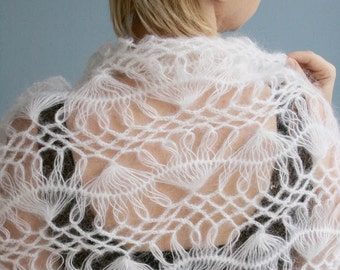 Free shipping, gift for her, White extra large SHAWL - WRAP, hand knitted, scarf-shawl-wrap