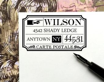 Custom Return Address Stamp,Vintage Postal Mail, Carte Postale, Calligraphy,Wedding Stamp,Pre inked Stamp,Personalized Stamp, #16-23