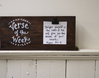 Verse of the week Clip Holder - laurel - - stained wood  - for Cards, photos, or notes - homeschool - sunday school - scripture memory