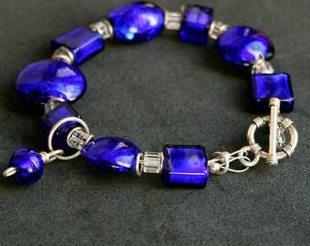 SALE SALE SALE    cobalt blue Murano glass bracelet