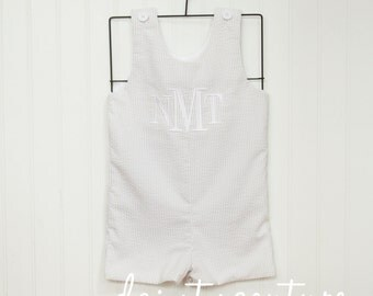 Tan monogrammed Seersucker Shortall, jon jon, romper - Khaki or tan striped cotton shortall - free personalization