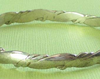 Vintage Silver Bangle Bracelet, Mexico Bracelet, Shabby Bracelet, Twisted Jewelry, Rope Bracelet
