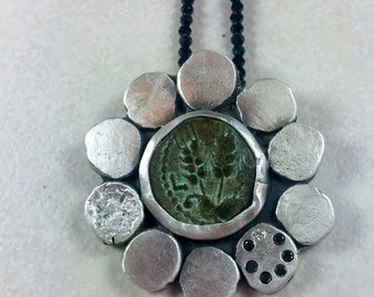 Ancient Coin and Silver  Pendant,  Gemstone  Strand Necklace, Authentic Coin, silver and diamond necklace , ancient coin jewelry