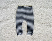 kids stripe cotton leggings, baby sweatpants, cotton knit trousers, baby toddler longies (black / grey stripe)