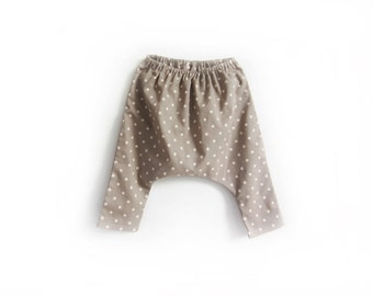 baby cotton harem pants, girls cotton polka dot trousers, childrens longies, kids loose trousers, (beige cream polka dot)
