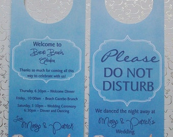 Destination Wedding Hotel Door Hangers - BEACH or Nautical - Double Sided for Out of Town Wedding Guests - Do Not Disturb - Peach and Blue