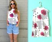 80 ROSES & DOTS shirt // Sleeveless Cotton Shirt // 1980s floral shirt // fuchsia black and white // women's medium or large // turtleneck