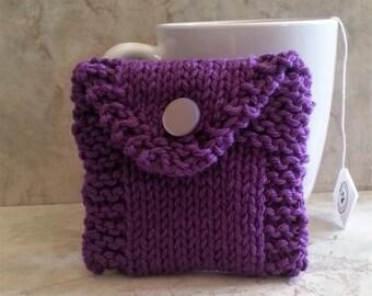 Tea Bag Tote, Tea Bag Wallet, Cotton Handknit, Purple Gift under 15