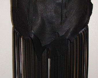 "READY To SHiP!!! Artisan Fringed Purse Black Deerskin Designer Handbag in Leather with Fringe ""MY FiRST CRUSH"" Handmade by Debbie Leather"