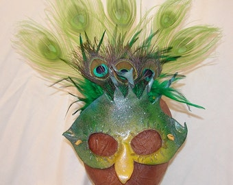 "Leather Masquerade Masks for Halloween Mardi Gras Comedia Del Arte LgBT Pride OOAK ""BIRDIE"" Handmade by Debbie Leather"