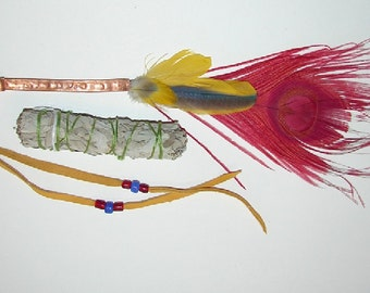 Smudge Fan Red Peacock Feather Macaw Feathers with Copper Handle Fringe and Sage Space Cleansing Blessing Handmade OOAK by Debbie Leather