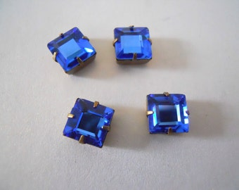 4 Vintage Montana Mounted Montana Blue Square Crystals
