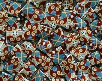 Mosaic Tiles--Chateau- Brown-Teal Turquoise-60 tiles